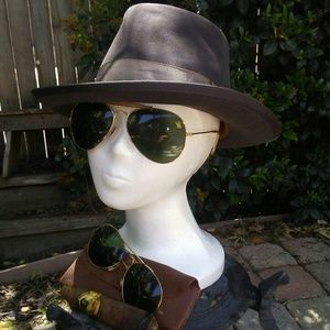 WWII Aviator Glasses, Fedora and 70's Foster Grant
